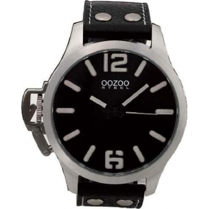 Oozoo Steel XL Black Leather Strap OS56